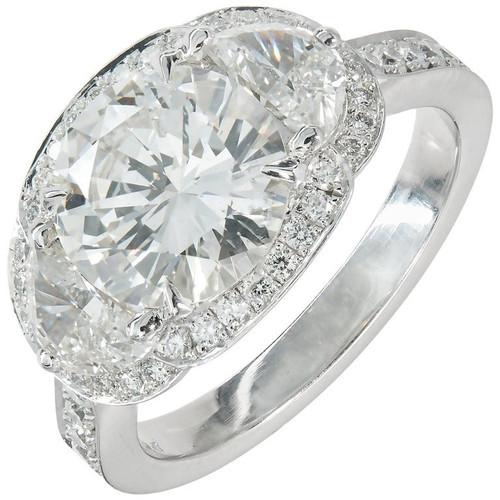 Transitional Cut Diamond Platinum Halo Ring 1935-1940