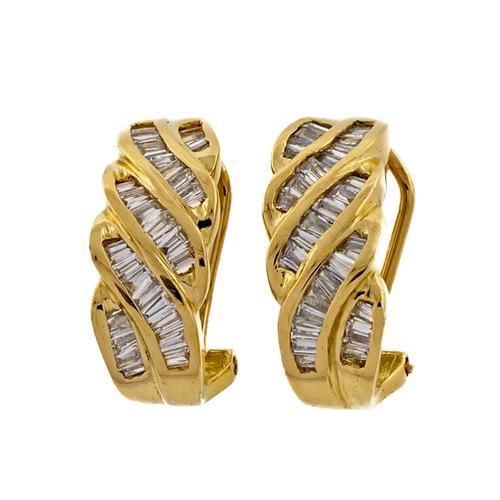 Vintage 1960 Diamond Hoop Earrings .75cts Baguette Earrings