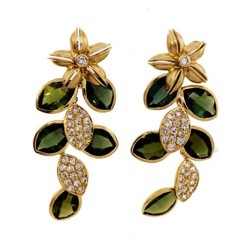 12.00ct Fine Green Tourmaline Diamond Dangle Earrings