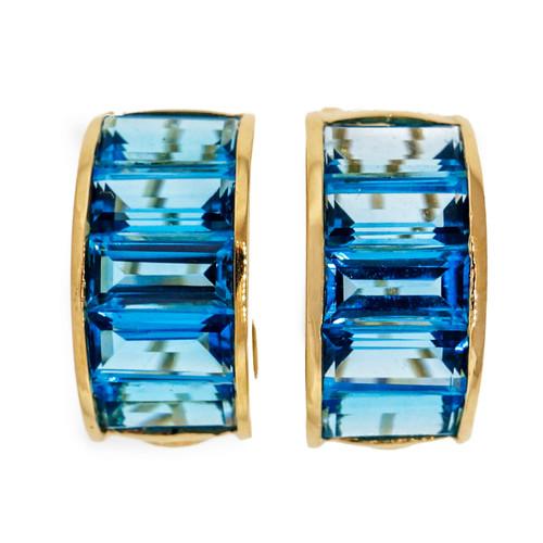 Bright Blue Topaz Emerald Cut 20.00ct Clip Post Hoop Earrings