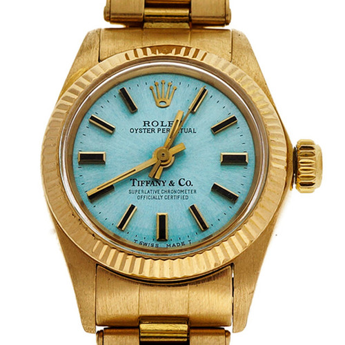 Gold Ladies Tiffany & Co Ladies Oyster Perpetual 1969 Watch 6719 Ice Blue Dial