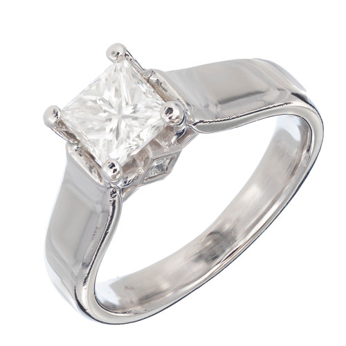 Estate Scott Kay 1.15ct Princess Cut Certified Platinum Diamond Engagement Ring