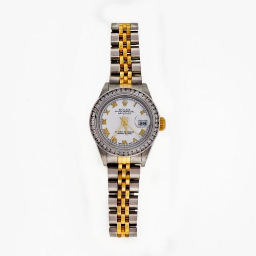 Ladies Rolex Datejust 18k Gold Steel 79173 White Roman Dial