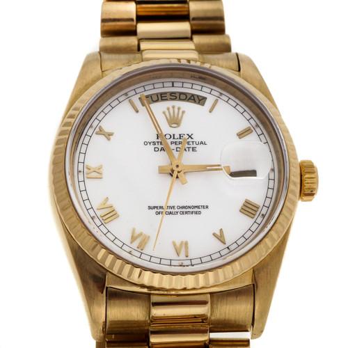 Rolex President 18k Yellow Gold Day Date White Roman Dial Watch