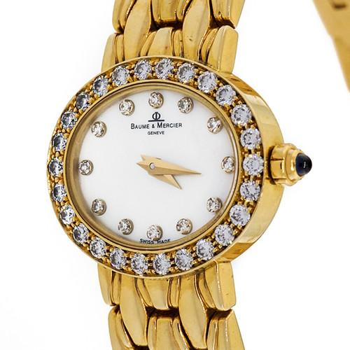 Ladies 18k Baume & Mercier .75ct Diamond Yellow Gold Mother Of Pearl Watch