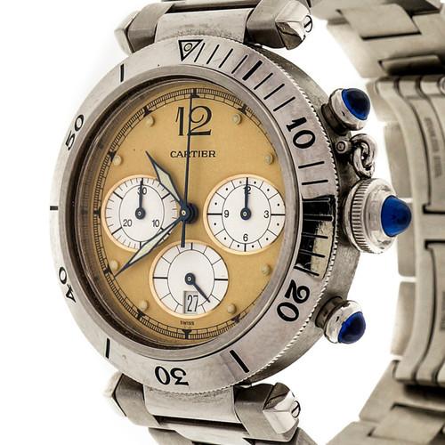 Cartier Steel Pasha Chronograph Quartz 38mm 2 Tone Dial Watch