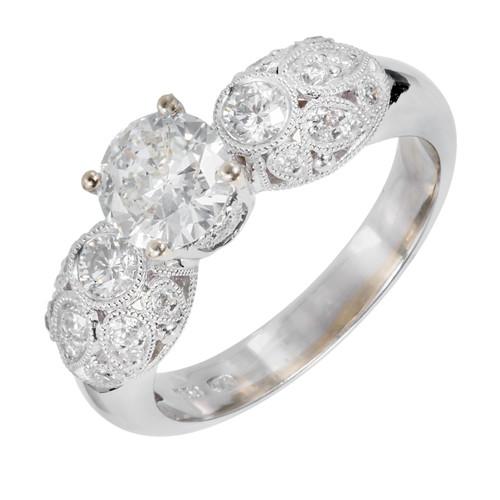 Estate Transitional Cut .81ct Diamond 18k White Gold Pave Engagement Ring