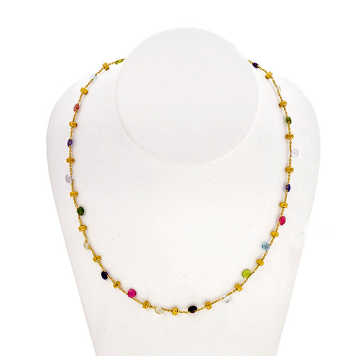 Marco Bicego 18k Yellow Gold Paradise Necklace Multi Color Stone Gold Band