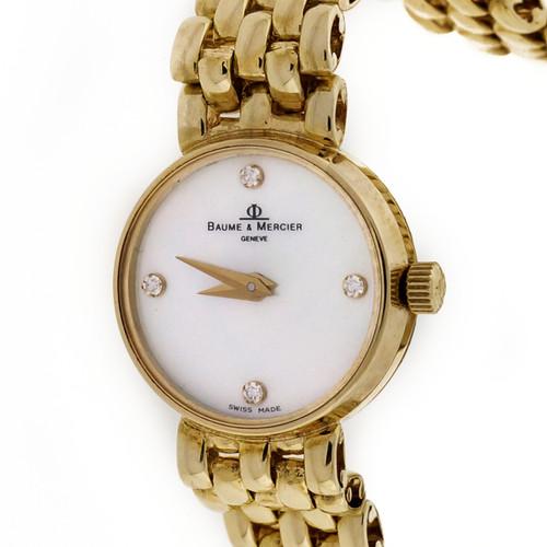 Ladies Baume & Mercier Mother Of Pearl Diamond Quartz 14k Gold Mesh Watch