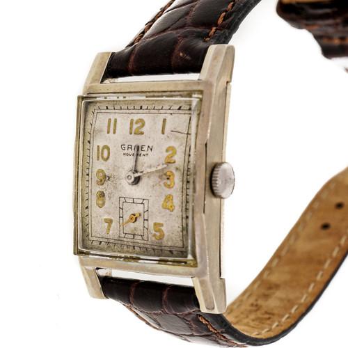 Vintage 1925 Gruen Deco 14k White Gold Wrist Watch