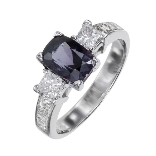 Estate Natural Purple1.74ct Cushion Spinel Princess Cut Diamond Engagement Ring