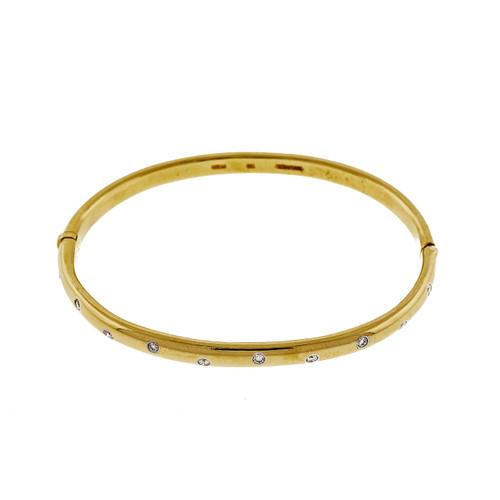 Tiffany Etoile .30ct 18k Yellow Gold Diamond Bangle Bracelet