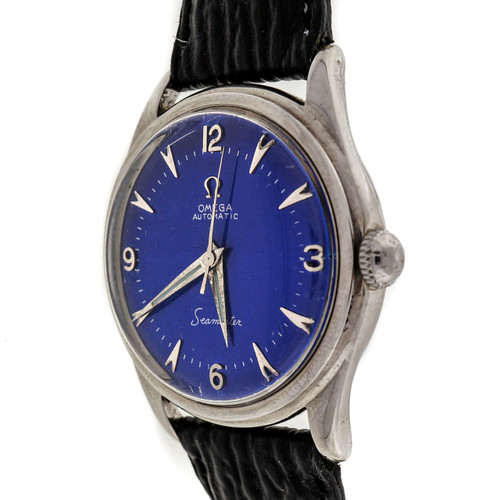 Vintage 1960 Omega Automatic Seamaster Custom Color Blue Dial Steel Watch