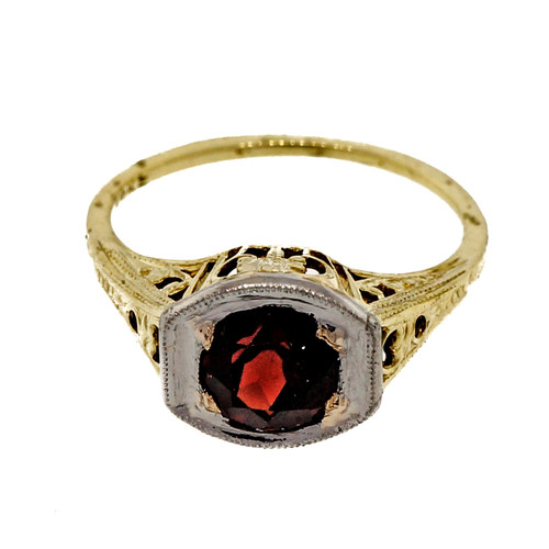 Vintage Art Deco Filigree 14k Yellow Gold 1.20ct Red Garnet Engagement Ring