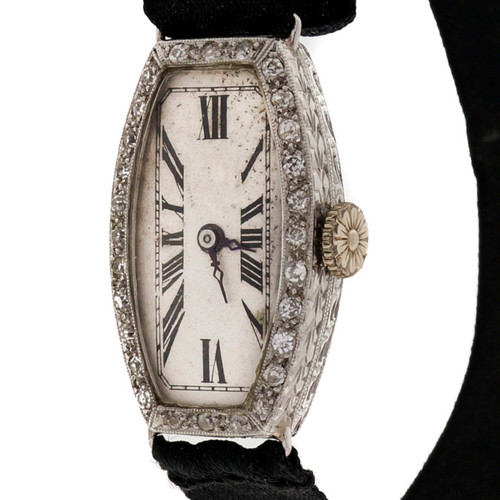 Antique Ladies Art Deco Platinum Diamond Solvil Watch Black Satin Ribbon Band