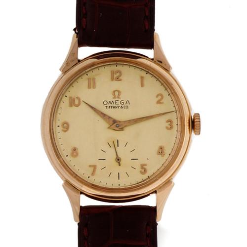 Vintage 1960 Tiffany Omega 18k Pink Gold Wrist Watch
