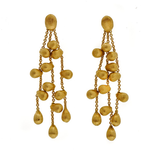 Marco Bicego Paradise Rare 18k Yellow Gold Textured Dangle Earrings