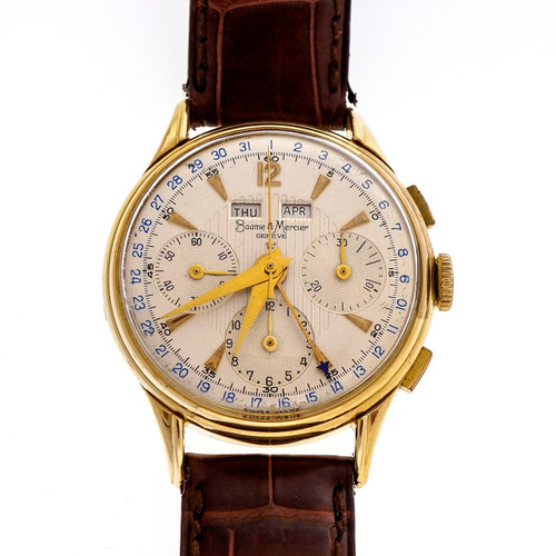 Vintage Baume & Mercier Day Date Month Chronograph 18k Yellow Gold Wrist Watch