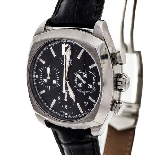 Tag Heuer Monza Automatic Chronograph Black Dial Deployant Buckle Watch