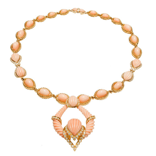 1950 Natural Pink Orange Coral Diamond Necklace Pendant