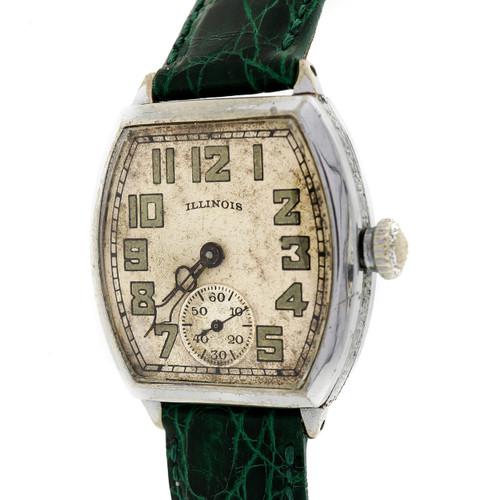 Vintage 1934 Art Deco Illinois Wrist Watch Green Crocodile Band