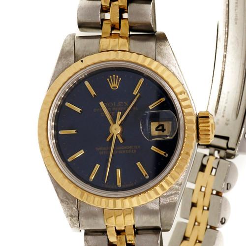 Ladies Factory Slate Blue Dial Rolex Datejust 69173 In 18k Gold & Steel