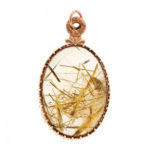 Antique 75.00ct Smoky Quartz 14k Pink Gold Rutile Needle Pendant