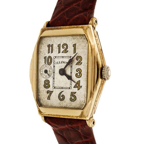 Rare Art Deco 1928 Illinois Gold Plated Wrist Watch Manual Wind