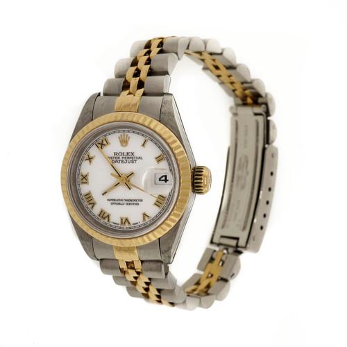 Ladies Rolex 18k Yellow Gold & Steel Datejust 69173 White Dial Roman Numerals
