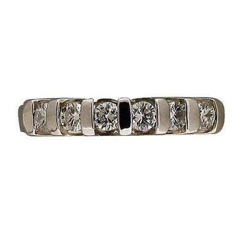 6 Round Diamond Band .50CT High Polished Platinum Bar Set Swirl Sides Ring