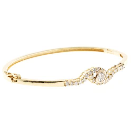 Estate Swirl Design Solid 14k Yellow Gold Full Cut Diamond Bangle Bracelet