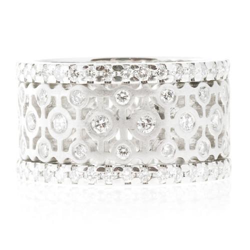 Lieberfarb 2.01 Carat Diamond Platinum Wide Round Eternity Band Ring