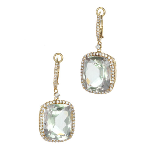 Estate Cushion Cut Blue Green Quartz Diamond 18k Euro Wire Top Filigree Earrings
