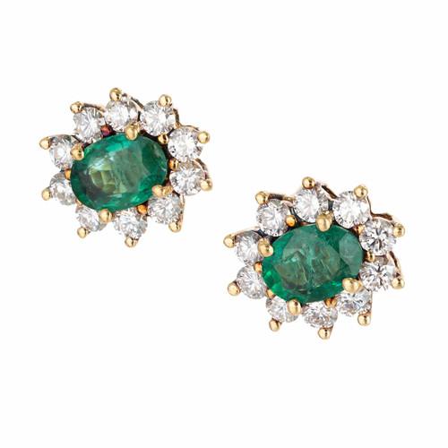 Estate 18k Yellow Gold Gem Quality Colombian Emerald Diamond Pierced Earrings