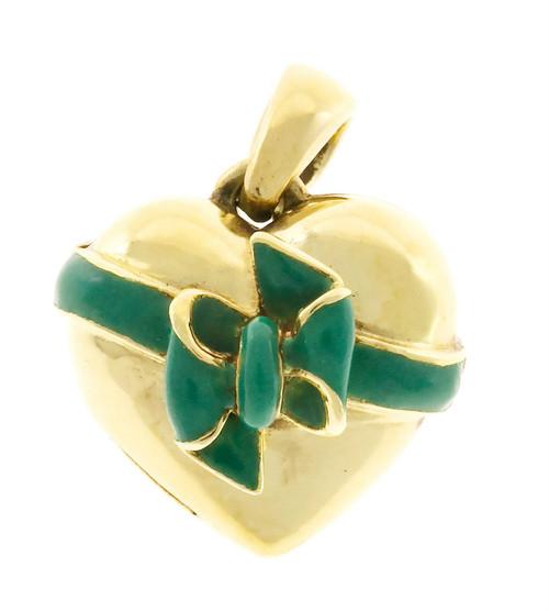 Vintage Hand Made Heavy Solid 18k Gold Green Enamel Bow Locket European Style