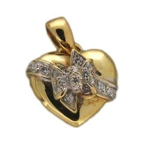Vintage European Style 18k Yellow Gold Heart Pave Set Round Diamond Bow Locket