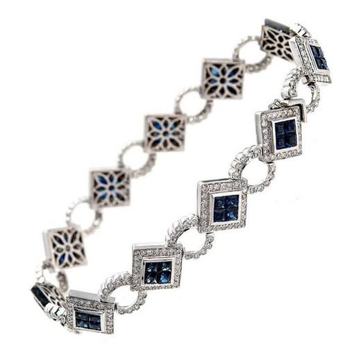 Dilamani 10.78 Carat Sapphire Diamond Gold Bracelet