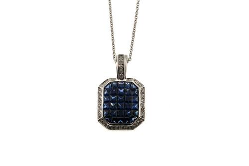 Estate Dilamani 18K White Gold Custom Cut Invisible Set Sapphire Diamond Pendant