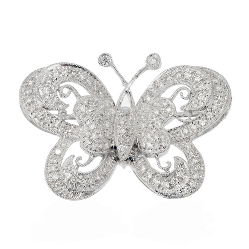 Estate 1960 Beautiful 18k White Gold Delicate Pave Set 123 Diamond Butterfly Pin