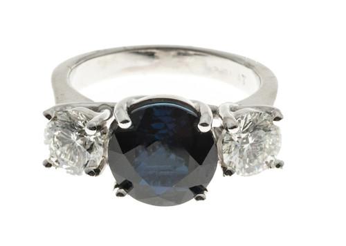 Estate  Platinum European Cut Blue Natural  Sapphire & Diamond Ring Suchy 3.92ct