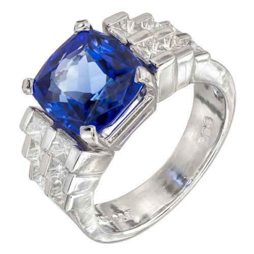 Peter Suchy Vintage Blue Tanzanite Princess Diamond Platinum Ring