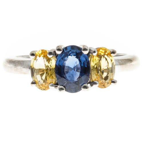 Peter Suchy Blue Oval And Yellow Sapphire 18k White Gold 3 Stone Engagement Ring