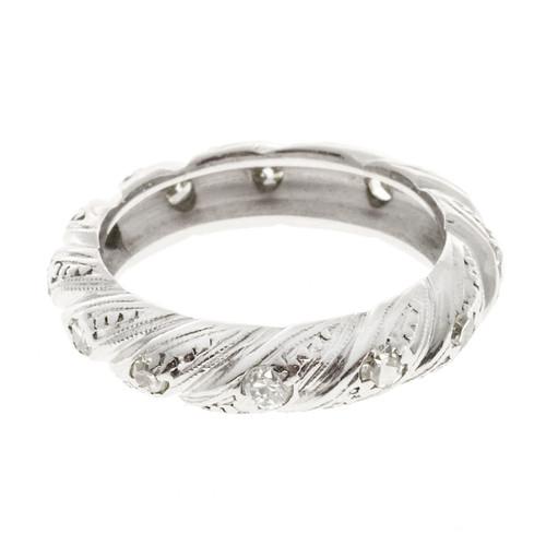 Estate 1930 Platinum Swirl Design 4.7mm Wide 15 Round Mele Diamond Ring Size 6