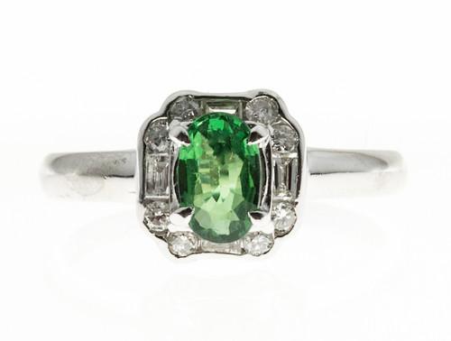 1940s Art Deco Style Green Tsavorite Garnet Platinum 12 Diamond Deco Ring