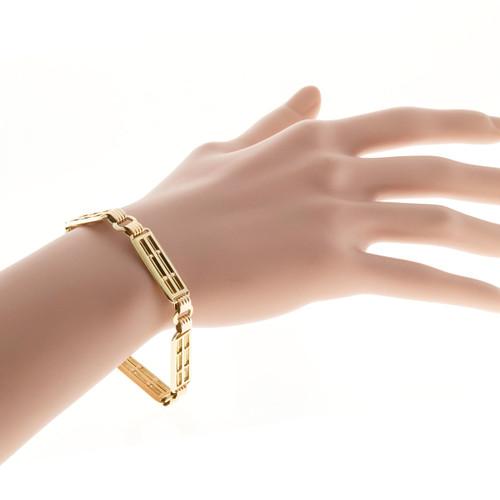 Estate 1935 Retro Pink & Green Gold 5 Rectangular Section Link Bracelet