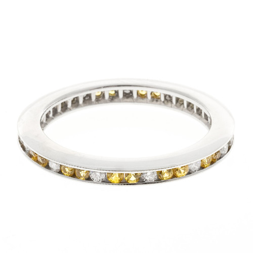 Estate 14k Round Yellow Sapphire Diamond Eternity Ring Channel Set Wedding Band