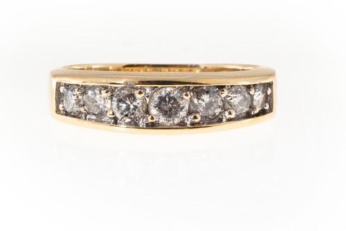 Estate 14k Yellow & White Gold Flat Raised Top Tapered Bead Set 7 Round Diamond
