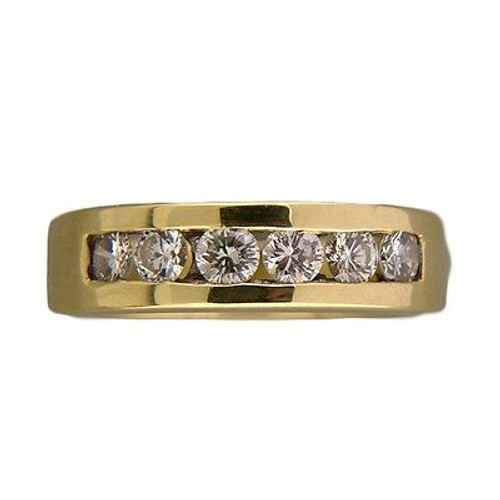 Vintage 6 Full Cut Diamond .42CT Channel Set Band Ring Size 7 1/4 18k Gold