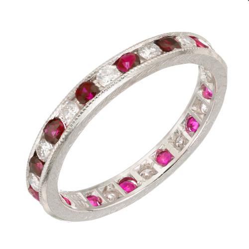 1.44ct Ruby Diamond Platinum Eternity Wedding Band Ring