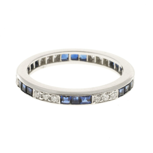 Vintage Oscar Heyman Size 6 Platinum Square Sapphire Diamond Eternity Band Ring